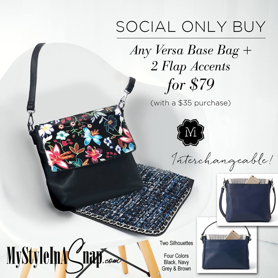 It's the perfect time to go interchangeable! Our VERSA Handbag has new Flap Accents and a new base bag color - Grey! When you SHOP OUR SOCIAL, you can get your choice Bag Bag + your choice of 2 Flap Accents for only $79 with a $35 purchase at MyStyleInASnap.com LOVE IT? Join us and get it all at consultant prices.