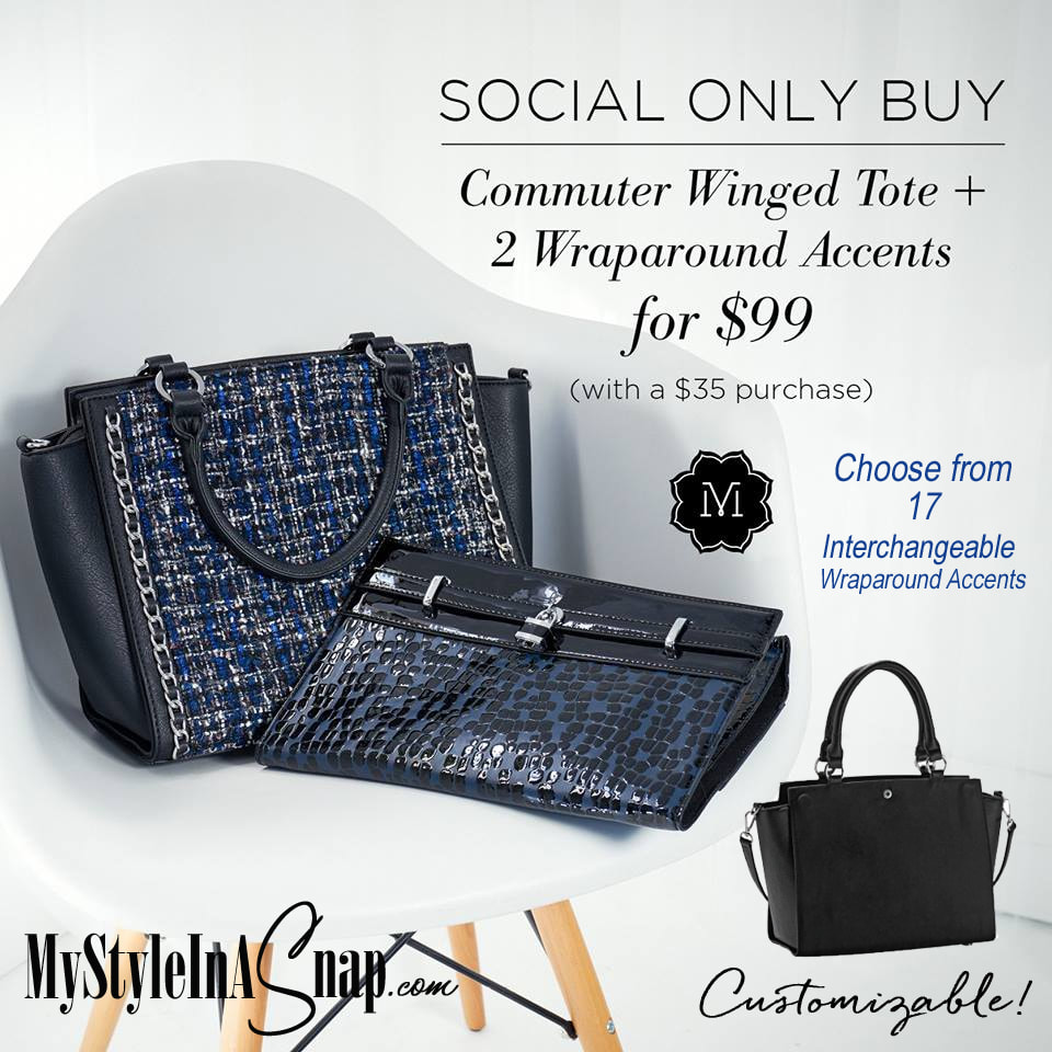17 beautiful Wraparound Accents to choose from! When you SHOP OUR SOCIAL, you can get your Tote collection started with a Bag Bag and your choice of 2 Wraparound Accents for only $99 with a $35 purchase! Shop MyStyleInASnap.com LOVE IT? Join us and get it all at consultant prices!