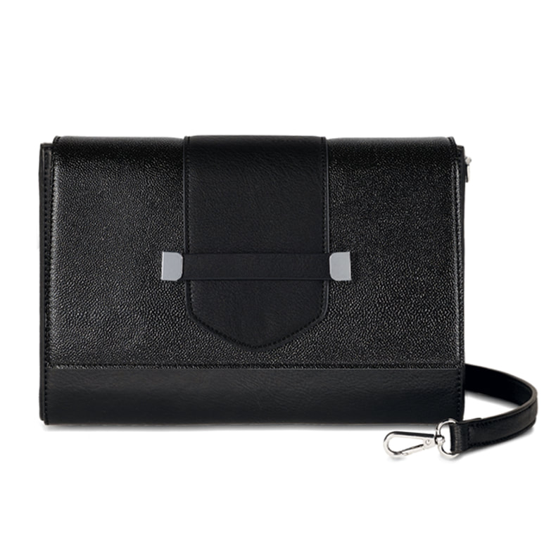Spectator Flap Accent - Black/Silver Glitter - paired with the Versa Uptown Clutch Base Bag at MyStyleInASnap.com