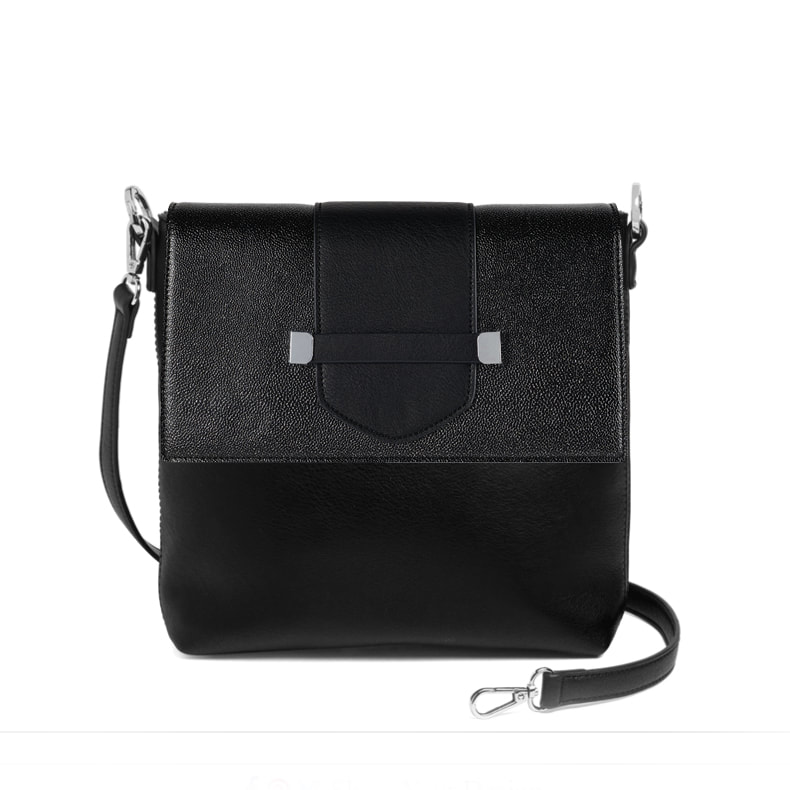 Spectator Flap Accent - Black/Silver Glitter - paired with the Versa Journey Handbag Base Bag at MyStyleInASnap.com