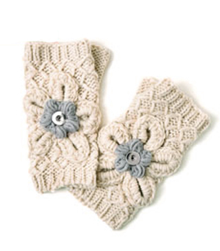 Magnolia and Vine Tyrolean Winter Knit Fingerless Gloves Oatmeal #S0993 available at MyStyleInASnap.com