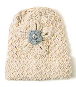Magnolia and Vine Tyrolean Winter Knit Hat Oatmeal #S0992 available at MyStyleInASnap.com