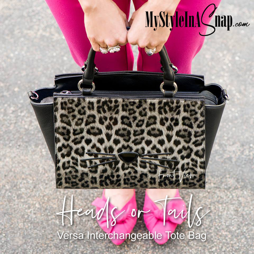 We're loving the Commuter Winged Tote with the Heads Or Tails Wraparound Accent!  A cool black and grey cheetah print featuring a nose and whisker detail on one side and cheetah print tail on other. Lots of other wraparound accents to choose from to change the look of your handbag in seconds. Shop MyStyleInASnap.com LOVE IT? Join us and get it all at consultant prices.