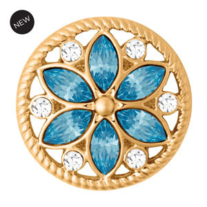 Yellow Gold Tone Calliope Aqua Snap #S1647 by Magnolia and Vine available at MyStyleInASnap.com