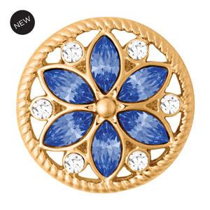 Yellow Gold Tone Calliope Blue Snap #S1649 by Magnolia and Vine available at MyStyleInASnap.com