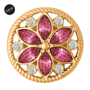 Yellow Gold Tone Calliope Pink Snap #S1650 by Magnolia and Vine available at MyStyleInASnap.com