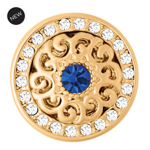Yellow Gold Tone Celeste Blue Snap #S1655 by Magnolia and Vine available at MyStyleInASnap.com