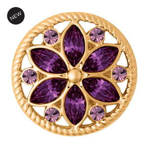 Yellow Gold Tone Calliope Dark Purple Snap #S1648 by Magnolia and Vine available at MyStyleInASnap.com