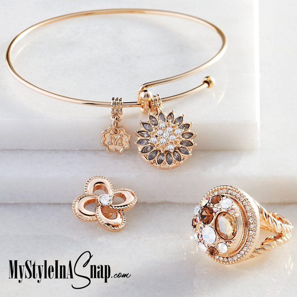 Simple pieces with big impact. Add our yellow gold tone Snap jewelry pieces and interchangeable Snaps to any outfit for effortless style. Shop MyStyleInASnap.com LOVE IT? Join us and get it all for style consultant prices.