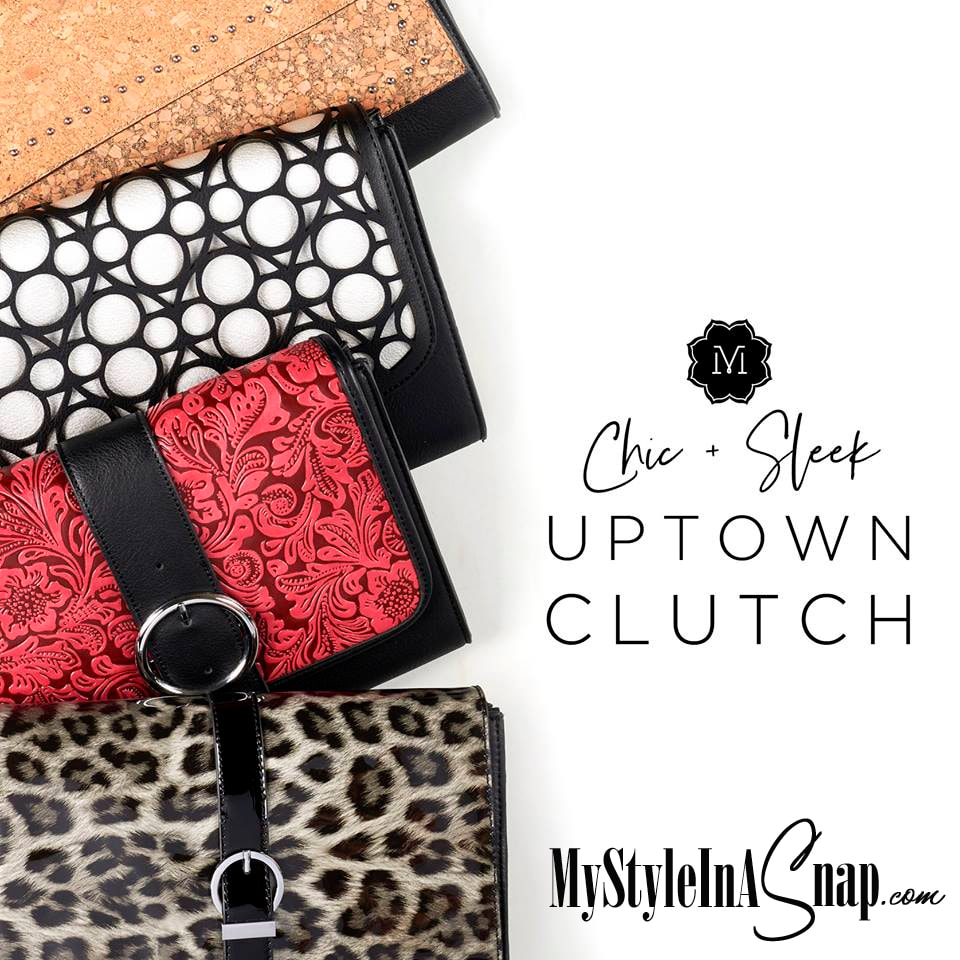 Our slim Uptown Clutch handbag packs a stylish punch, thanks to interchangeable Flap Accents you can swap out in seconds. Shop MyStyleInASnap.com LOVE IT? Join us and get it all at consultant prices!