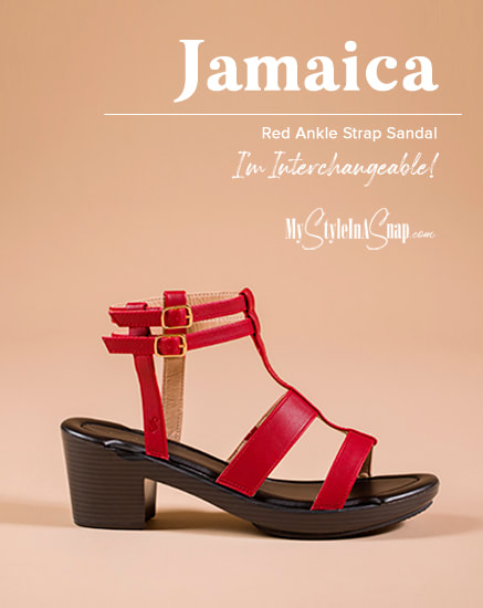 Red Jamaica Sandals - INTERCHANGEABLE SHOES!
