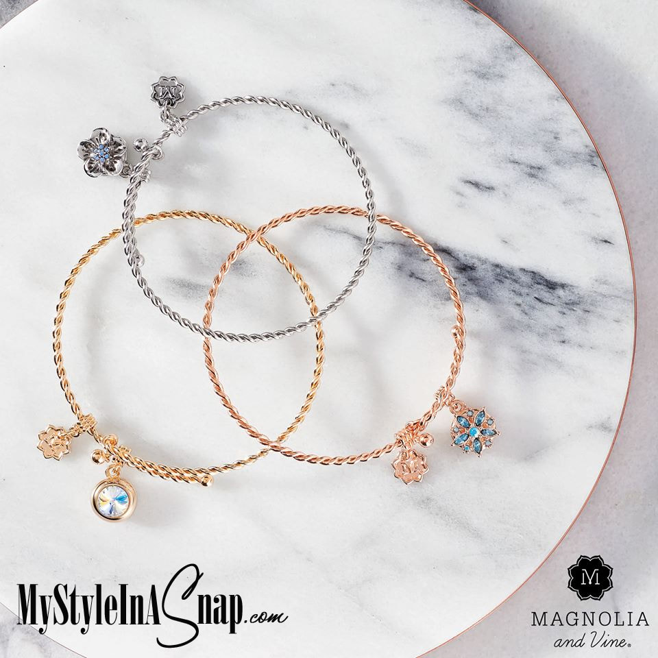 Stack up our best-selling Mini Spiral Wire Bracelet in all three finishes: our brand-new yellow gold tone, rose gold and rhodium silver by Magnolia and Vine available at MyStyleInASnap.com LOVE IT? Join us and get it all at consultant prices!