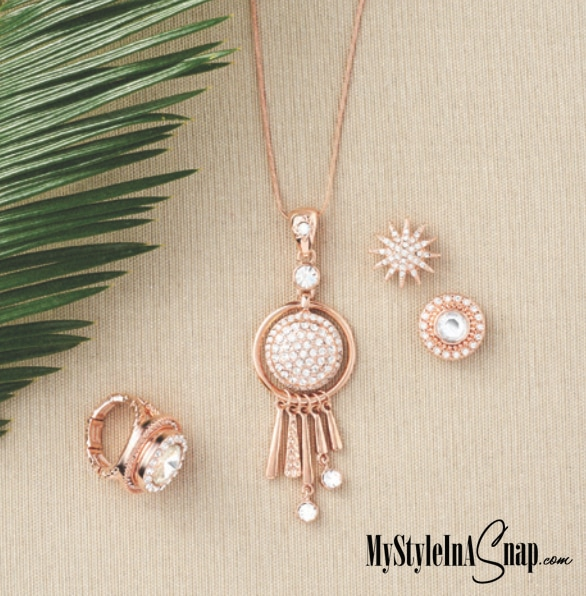 Magnolia and Vine Rose Gold Snap Jewelry available at MyStyleInASnap.com