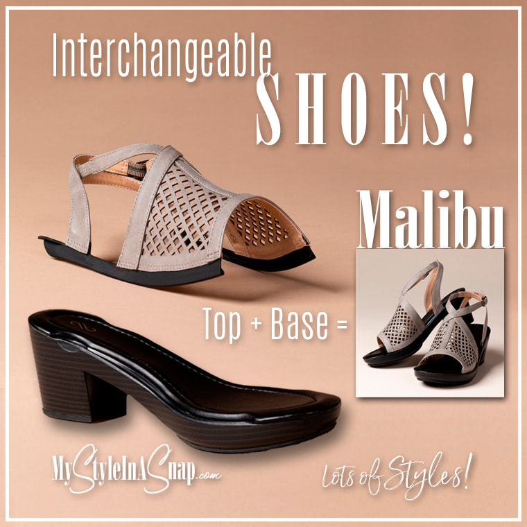 INTERCHANGEABLE SHOES! Malibu Gray Laser Cut Sandals