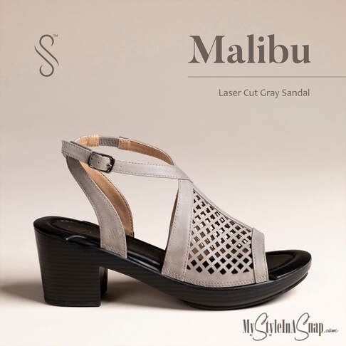 Malibu Gray Laser Cut Ankle Strap Sandals - Interchangeable Shoes!