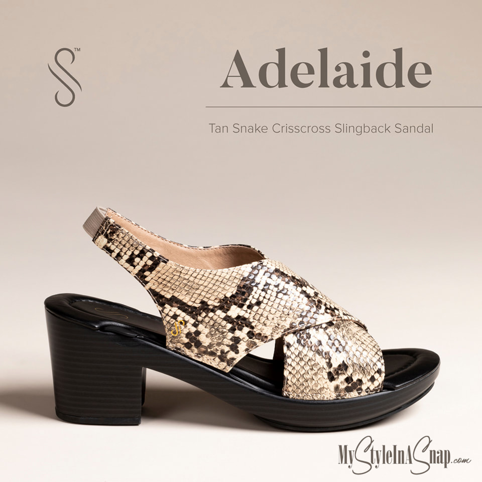 Adelaide Interchangeable Shoes in Black or Tan Snake Skin at MyStyleInASnap.com