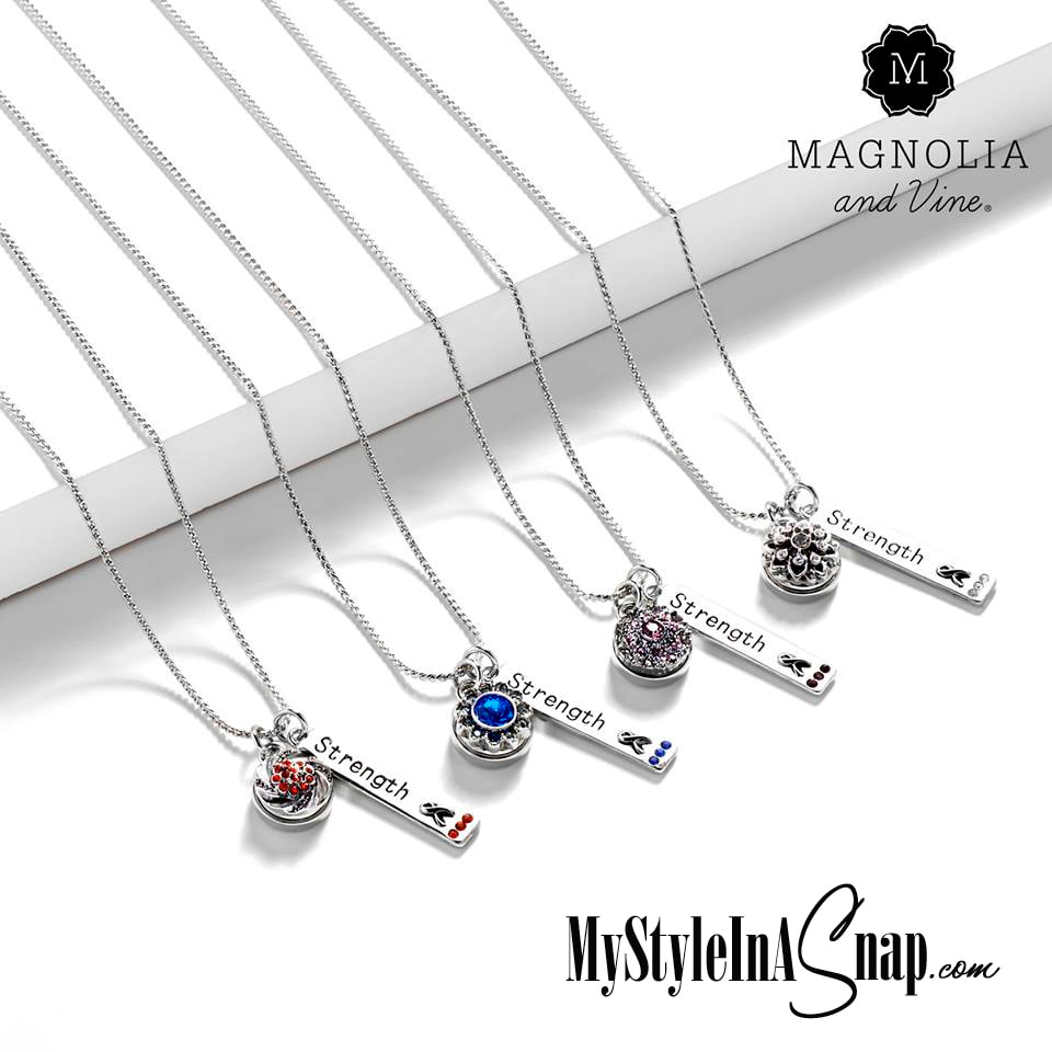 Show your support, stylishly, with our Mini Strength Necklaces. Each pendant has color stones to celebrate a worthy cause - 8 colors - from cancer awareness to cultural diversity.  MyStyleInASnap.com